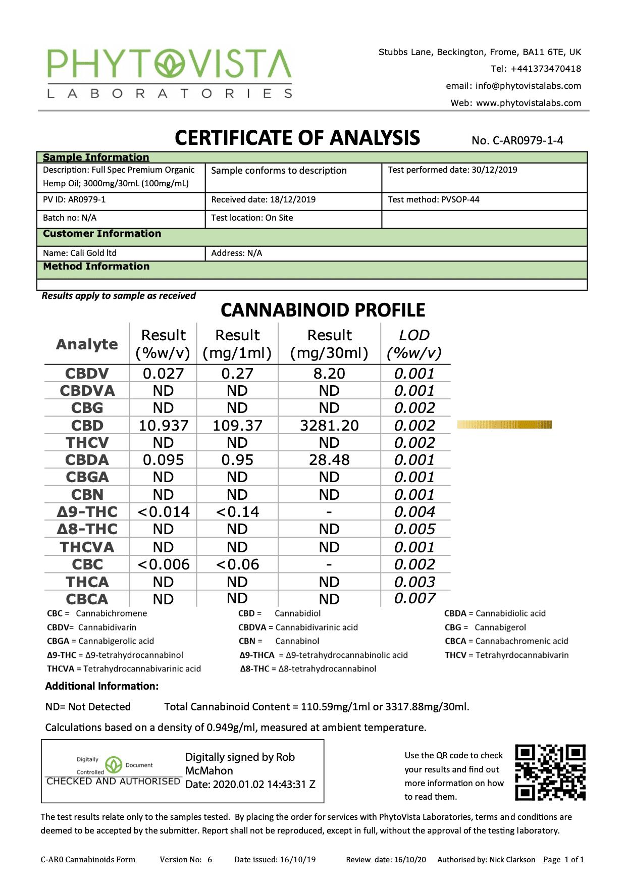 Caligold Certificate-3000mg