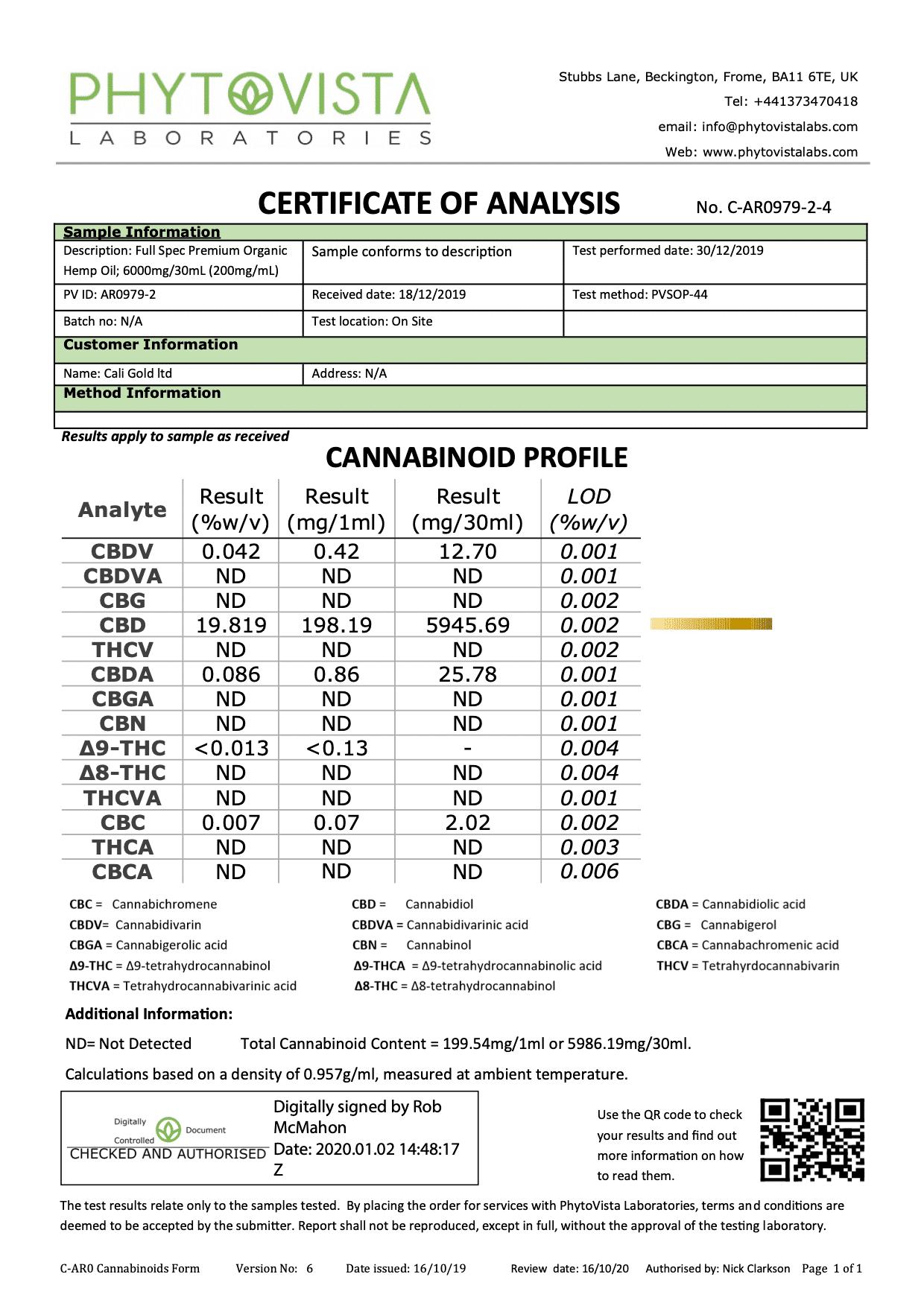 Caligold Certificate-6000mg