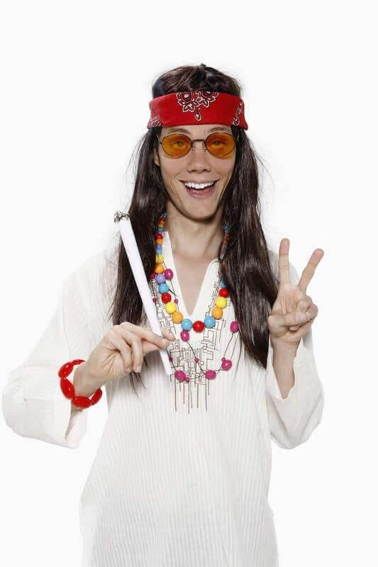 Hippie getting high